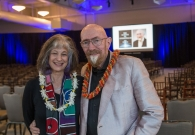 Dr. Kip Thorne with his wife Carolee Winstein right before doors opened at the Mauna Lani Bay Hotel's Hale Hoaloha Pavilion for Dr. Thorne's Keck Observatory Astronomy Talk.
