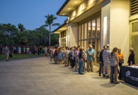 A long line snaked outside of the Hale Hoaloha Pavilion, with people coming as early as two hours prior to Dr. Thorne's presentation. More than 750 people attended the standing room only Keck Observatory Astronomy Talk.