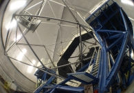 Fisheye view of Keck I telescope and dome, as viewed from dome floor. - Scott Kardel