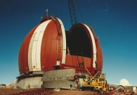 Nearing the end of the building stage from the 1987 project to bulid the largest land telescope in the world. At this point the telescope was nearing completion.