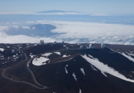 An aerial view of all the telescopes on top of Mauna Kea. - Joey Stein