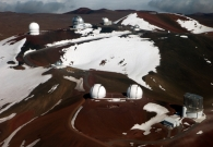 A bird's eye view of the telescopes on Mauna Kea. - Joey Stein