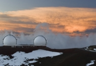 The Keck domes appear dormant just prior to an active evening of observing. - Pablo McLoud