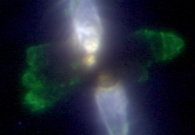 This Protoplanetary nebula is reflecting light from a dying star that is shedding its outer layers in the final stages of its life. - W.M. Keck Observatory