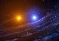 Artist concept of the RS Ophiuchi binary system shortly after a white dwarf (right) has exploded as a nova. Scientists have detected dust in the system, depicted here as spiral dust lanes. - Casey Reed
